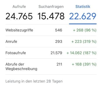 Google my Business Optimierung_Statistik_Kunde 2